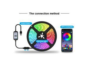 2M LED Strip Lights RGB 5050 LED Strips Set with USB Controller BT APP Controlled 16 Million Colors Flexible