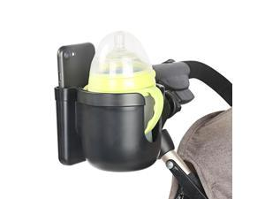 Stroller Cup Holder 2 in 1 Phone & Bottle Holder with Anti-slip Pad Universal Cup Holder Rack for Buggy with