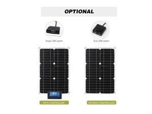 18W 12V Solar Panel Kit Dual USB Port Off Grid Monocrystalline Module with Solar Charge Controller SAE