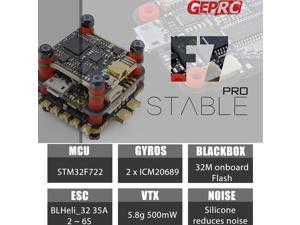 Geprc Stable Pro F7 Stack Dual Gyro F7 Flight Controller with 35A BLheli_32 4in1 ESC and 5.8G 500mW VTX for RC
