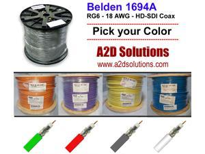 Belden 1694A - 1000' - HD/SDI 18AWG RG6 HD - MULTIPLE COLORS AVAILABLE