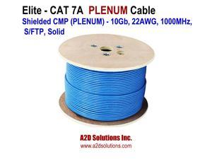 Elite TFP2204T Cat7A Shielded CMP PLENUM - 10Gb, 23AWG, 1000MHz, S/FTP, Solid, Bulk Networking Cable 1,000 ft Blue