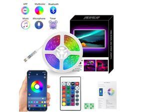 5M LED Strip Lights With  Remote Control App Control Bluetooth Music Sync RGB Lighting Strip for Home Bedroom Party DIY Decoration