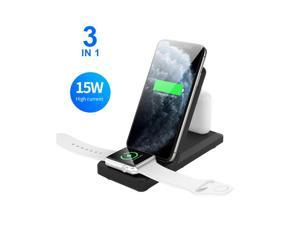 15W 3 In 1 Wireless Charger, Foldable Wireless Charging Station Compatible With Apple Watch Series 5/4/3/2/1 & AirPods, IPhone 11 Pro Max XS Max XS XR X 8 8 Plus