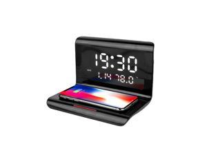3 IN 1Digital Alarm Clock with Wireless Charging & USB Port for Apple Watch/Tablet, 10W Qi Wireless Charging Pad for iPhone Samsung