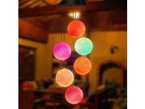 Color Changing Solar Power Wind Chime Spiral Spinner Crystal Ball Wind Mobile Portable Waterproof Outdoor Decorative Romantic Wind Bell Light for Patio Yard Garden Home
