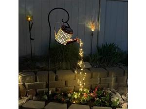 Solar Watering Can Light, Firefly Bunch Lights Waterproof Waterfall String Lights, Outdoor Garden Fairy Light Decor for Home Path Patio Yard Lawn Metal Statues