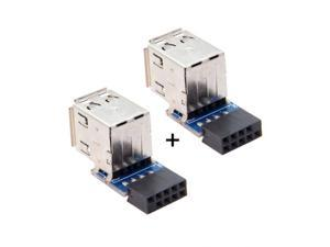 FVH 2pcs 9Pin/10Pin Motherboard Female Header to Dual USB 2.0 Female Adapter Vertical Type U2-029