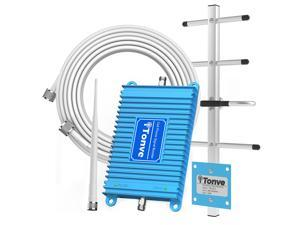 Tonve Cell Phone Signal Booster for Home and Office Up to 2,500 Sq Ft | Boost 4G LTE Data for Verizon and AT&T | 65dB Dual Band 12/17/13 Cellular Repeater with High Gain Antennas