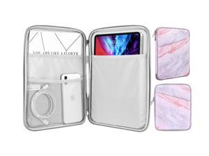 Sleeve Bag For 9-11 Inch Tablet, Protective Bag Carrying Case With Pocket Fits With Ipad Pro 11 2021/2020/2018, Ipad 8Th 7Th Generation 10.2, Ipad Air 4 10.9, Ipad 9.7, Pink Gray Marble
