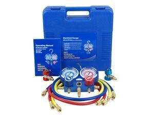 "ZENY HVAC A/C Air Refrigeration Kit AC Manifold Gauge Set Brass R134A R410A R22 4FT w/Case, 1/4"" SAE Fittings"