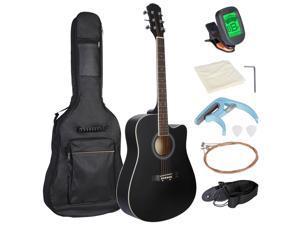 "Zeny Black 41"" Full Size Beginner Acoustic Guitar with Case Strap Capo Strings Tuner"