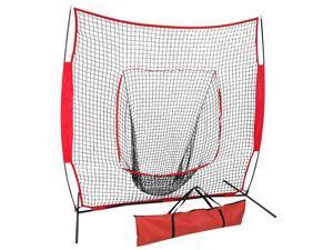 ZENY 7×7FT Baseball Softball Practice Net w/Strike Zone Hitting Batting Catching Pitching Training Net w/Carry Bag & Metal Bow Frame, Backstop Screen Baseball Equipment Training Aids