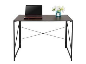 "ZENY Writing Computer Desk 39"" Modern Simple Study Desk Industrial Style Folding Laptop Table for Home Office Notebook Desk Brown Desktop Black Frame Folding Corner Table"