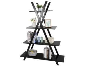 4-Tier Industrial Bookcase A Style Wooden Bookshelf Display Storage Use, Black