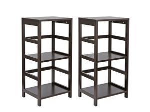 3-Tier Storage Shelf Wood Shelving Home Furniture Home Organization Storge Rack, 2ps
