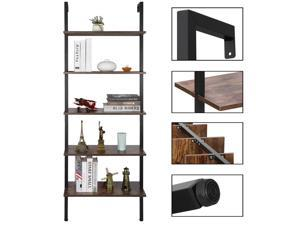 5-Tier Open Wall Mount Storage Shelf Organizer Rack Wood Bookcase with Solid Metal Frame, Natural