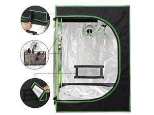Indoor Hydroponic Grow Tent Plant Growing Room Fabric Grow Room Box for Plant  with Observation Window and Floor Tray, Black
