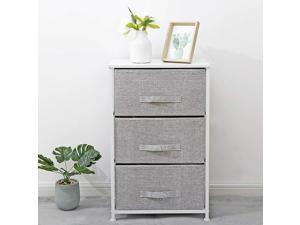 3-Tier Vertical Fabric Dresser Storage Tower Sturdy Steel Construction, Wood Top, Easy Pull Drawers - Organizer Unit for Home&Office Use
