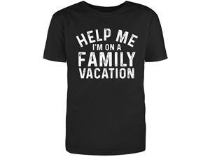 Men's Black Half Sleeves Cotton Help Me Im On A Family Vacation Sarcastic Novelty Funny T Shirt (2XL)