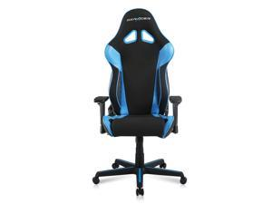 DXRacer Ergonomically Designed Racing Series RAA106 Black and Blue Strong Mesh and PU Leather 135-degree Recline High-End Gaming Chair with Neck and Lumbar Support Pillow