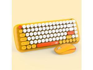 theone DKS2000 Wireless keyboard and mouse set 2.4g punk round keycap office keyboard Yellow