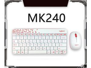 Logitech MK240 Nano Wireless Bluetooth White Keyboard and Mouse Set Slim Office Keyboard