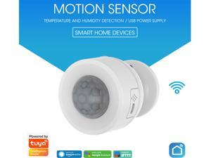 Tuya Smart Wireless WiFi Motion Sensor PIR Motion Detector With Temperature and Humidity Function USB Smart Home Sensor  App Remote Control Smart Life Day and Night Monitoring Home Safety