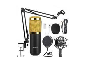 Profession BM800 Condenser Microphone Bundle,With Adjustable Mic Suspension Scissor Arm, Shock Mount and Double-Layer Pop Filter,For PC Studio Recording & Brocasting Skype YouTuber Karaoke