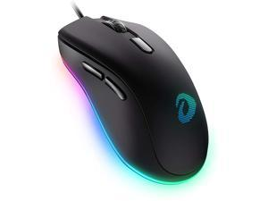DAREU EM908 Wired Gaming Mouse, 6 Programmable Buttons, Ergonomic RGB Gaming Mouse with 16.8 Million Chroma 7 Backlit for PC, Laptop, and Notebook