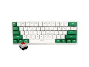 Dareu EK861 Mechanical Gaming Keyboard Wired/Bluetooth 5.0 Dual Mode Red Switch 61-key PBT Keycaps Connect Three Devicesor Windows PC Gamers (RGB Backlit White)