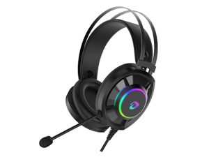 DAREU EH469 Wired Gaming Headset - Lightweight - Memory Foam Ear Pads - 50MM Drivers - with Microphone - Multi Platforms Black Headphone - Works with PC, PS4/3 & Xbox One/Series X, NS