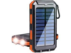 Solar Charger 20000mAh Portable Outdoor Mobile Power Bank,Camping External Backup Battery Pack Dual USB 5V 1A/2A Outputs with SOS Function & Compass