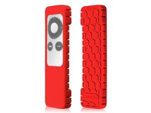 Protective Case for Apple TV 2 3 Remote Controller CaseBot Honey Comb Series Light Weight Anti Slip Shock Proof Silicone Sleeve Cover Red