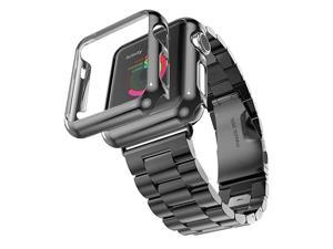 Compatible with Apple Watch Band Series 1234 Stainless Steel Strap Band wAdapter+Case Cover Compatible for iWatch 4044mm H Black 44mm