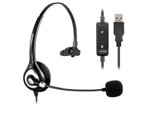 Corded USB Headsets Mono with Noise Cancelling Mic and in-line Controls,  UC Business Headset for Skype, SoftPhone, Call Center, Crystal Clear Chat, Super Lightweight, Ultra Comfort (UC600)