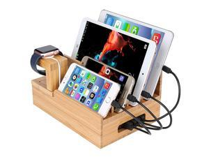 Bamboo Charging Station for Multiple Devices Organizer USB Wooden Charging Docking Station Perfect for Smart Phone Pad Tablet Home Family Office or Gift Giving USB Charger NOT Included