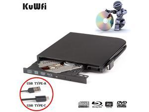 External Blu Ray DVD Drive  Player for Laptop USB30 TypeA TypeC Dual interfaces Portable Slim Automatic SlotLoading CDDVDRAM Superdrive Burner with High Speed Data for PC Windows Mac OS