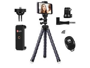 Flexible Phone Tripod with Wireless Remote Shutter Control and Universal Mount Clip for iPhoneSamsungAndroid Cell Phone Stand Tripod Holder for Camera GoPro