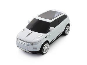 Cool Sport SUV Car Shape 24GHz Wireless Optical Mouse 1600DPI SUV Mice Cordless Office School Mouse with USB Receiver for PC Computer Laptop White