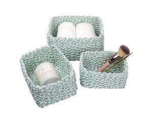 JOLIE MUSE Woven Storage Baskets Recycled Paper Rope Bin Organizer Divider for Cupboards Drawer Closet Shelf Dresser Set of 3 Green White