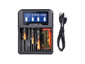 TR020 Household Battery Charger for Liion IMR 18650 18350 26650 32650 NiMH NiCd AA AAA AAAA RCR123A RCR123 and All Kinds of Cylindrical Rechargeable Battery 4 Slots