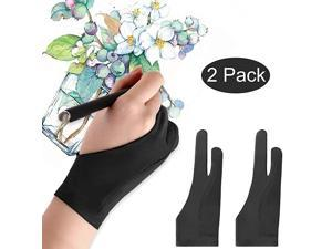 Artists Gloves 2 Pack Palm Rejection Gloves with Two Fingers for Paper Sketching iPad Graphics Drawing Tablet Suitable for Left and Right Hand Large
