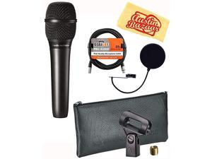 AT2010 Cardioid Condenser Handheld Microphone Bundle with Pop Filter XLR Cable and Austin Bazaar Polishing Cloth