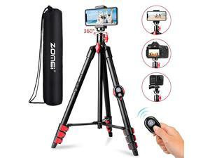 Phone Tripod Tripod for iPhone Camera Portable Lightweight Aluminum Tripod Stand with Universal Cell Phone Holder Carry Bag Remote Shutter for Phone Camera GoProLaser Measure Laser Level