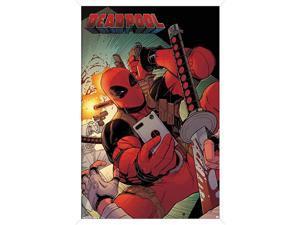 Marvel Comics Deadpool Selfie 14725quot x 22375quot White Framed Version