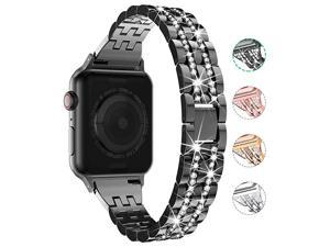 Compatible with Apple Watch Band 38mm 40mm 42mm 44mm for Women,  Rhinestone Metal Jewelry Wristband Strap Replacement for iWatch Bracelet SE Series 6/5/4/3/2/1