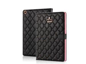 Crown Design Case for iPad 9.7 2018 2017/ iPad Air 2 / iPad Air, Diamond Cute Elegant PU Leather Smart Auto Sleep/Wake Stand Shockproof Case for Apple iPad 9.7 iPad 5th/6th/iPad Air (Black)