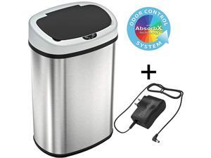 13 Gallon BatteryFREE Automatic Sensor Kitchen Trash Can with Power Adapter Oval Shape Stainless Steel Garbage Bin with AC Plug