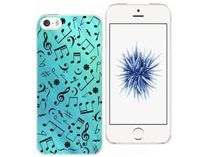 Case for SE Rubber -  [Exact Slim Fit Clear with Design Full Coverage] Bumper Compatible for iPhone 5/5S/SE [Blue Music Note]